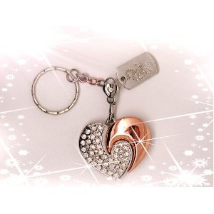 High Quality 32 GB heart Shape Crystal Jewelry USB Flash Memory Drive Keychain (SILVER) from T &  J