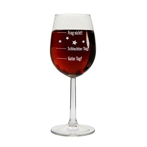 Designer Weinglas mit Gravur 'Guter Tag - Schlechter Tag -...