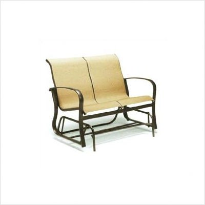 Buy Low Price Woodard Alta Vista Sling Gliding Loveseat Finish: Pecan, Fabric: Monticello Stripe (4P0473+ Finish: 83 Fabric: 72E)