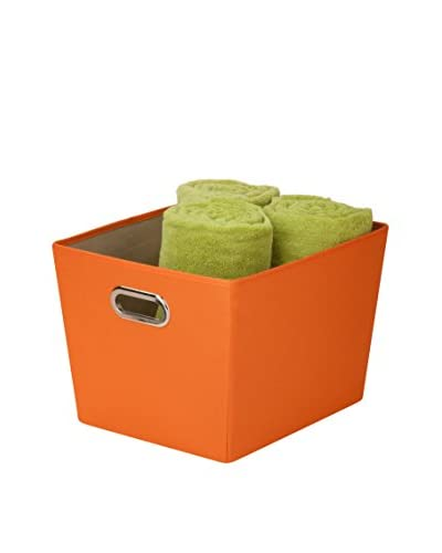 Honey-Can-Do Medium Decorative Storage Bin with Handles, Orange