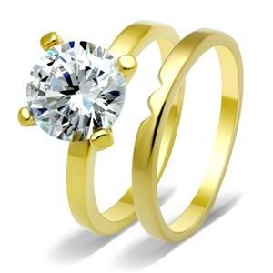 CZ WEDDING RING SET - Gold Tone 4 Prong Round CZ Wedding Set