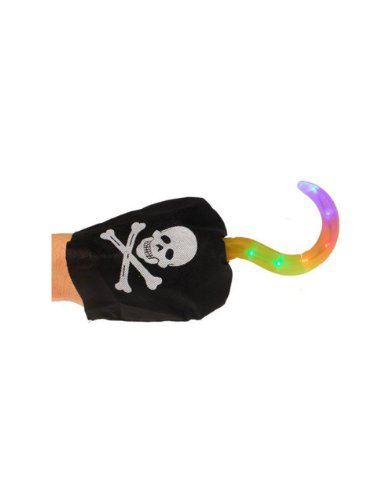 "New 7.5"" Light Up Rainbow Captain Hook Costume Accessory Pirate Hand"