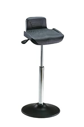 "Milagon Tasq WS4211TPU Polyurethane Workseat on Enamel Disc Base Standing Support with Edging, 26""-34"" Adjustment Height, 15-1/2"" Width x 14"" Depth Seat Dimension"