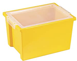 Ecr4kids Heavy-Duty Plastic Stack And Large Storage Tub -Tote Bin With Lids W/ Pack of 20 - Yellow