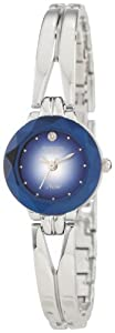 Armitron Women's 75-2967BLU NOW Silver-Tone Diamond Accent Bangle Bracelet Watch