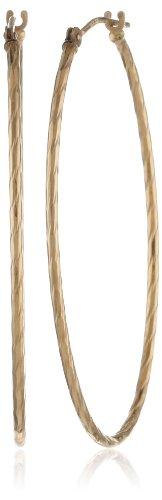 Duragold 14k Yellow Gold Tube Diamond Cut Oval Hoop Earrings