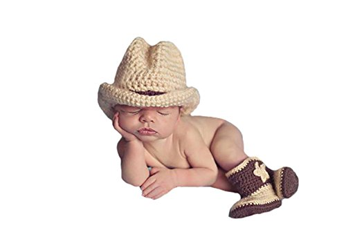 Liange Newborn Baby Photography Prop Crochet Knitted Cowboy Hat Boots Costume