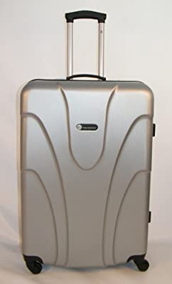 "Hard Shell 28"" Wheeled Suitcase Trolley in Silver"