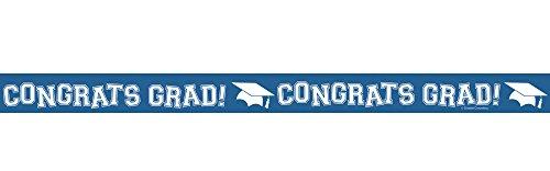 Creative Converting Congrats Grad Printed Crepe Paper Streamer Roll, 30', True Blue