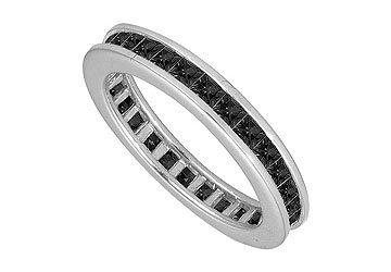Black Diamond Eternity Band 14K White Gold 5.00 CT Diamonds