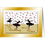 15th Birthday Niece  Dancing Girl silhouettes Card