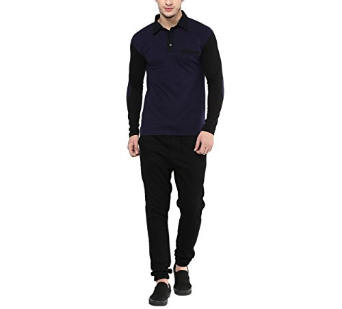 Hypernation-Blue-and-Black-Color-Cotton-Polo-T-shirt-For-Men