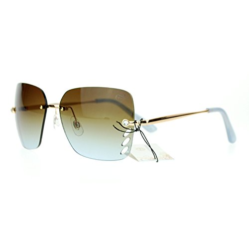 SA106 Whisker Vent Lens Luxury Designer Fashion Rimless Sunglasses Gold Blue (Whisker Vent compare prices)