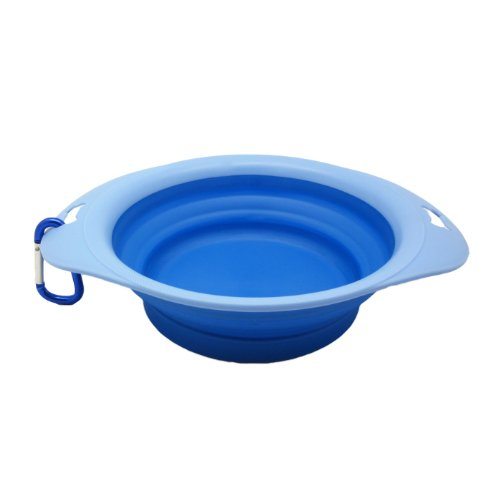 Alfie Pet By Petoga Couture - Lino Silicone Pet Expandable/Collapsible Travel Bowl - Size: 3 Cups, Color: Blue front-1067359