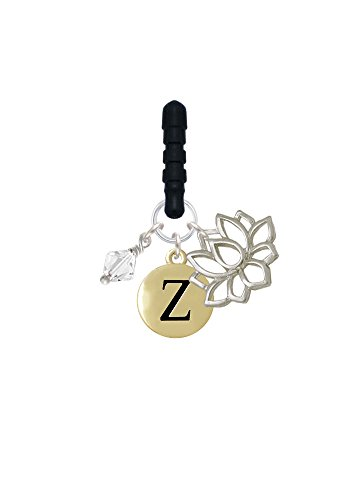 Capital Gold Tone Letter - Z - Pebble Disc - Open Lotus Phone Candy Charm
