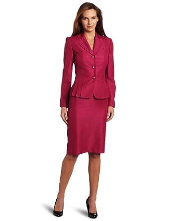 Lesuit Women's Shimmer Tweed Skirt Suit, Roseberry, 6