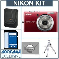 Nikon Coolpix S570 Kit,- Red - With 4GB SD Memory Card, Camera Case, 2 Year Extended Service Coverage, Table Top Tripod,
