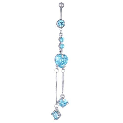 Kadima Jewelry Body Piercing Surgical Stainless Steel Swarovski Crystal Heart Banana Navel Belly Button Ring - Aquamarine