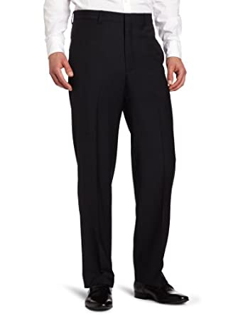 Joseph Abboud Men's Tic Flat Front Dress Pant, Navy, 36x32