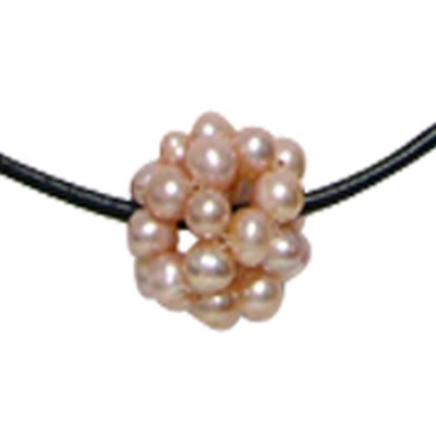 Cultured Pearl Cluster w. Leather Cord Necklace, Pink