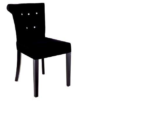 Black Velvet Modern Crystal Button Style Glamour Fabric Chair
