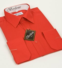 Elegant Men's Button Down Red Dress Shirt (Small-14/14.5 Neck; 32/33 Sleeves)