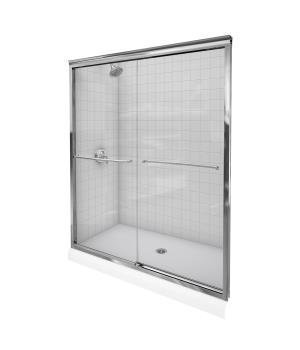 KOHLER K-702206-L-SHP Fluence Frameless Bypass Shower Door, Bright Polished Silver