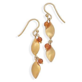 14 Karat Gold Plated with Carnelian Bead Earrings