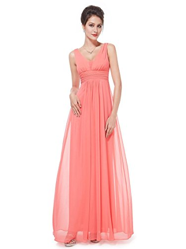 HE08110CO08, Coral, 6US, Ever Pretty Bridesmaid Dresses Chiffon 08110