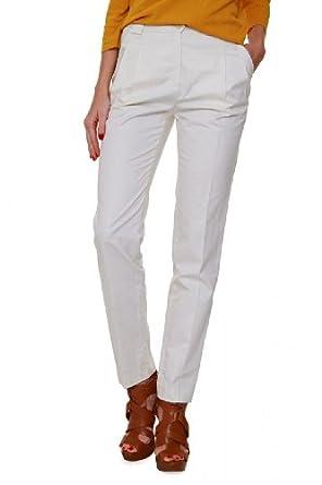 Luisa Spagnoli Chino Pants AGENZIA, Color: Cream, Size: 42 at Amazon
