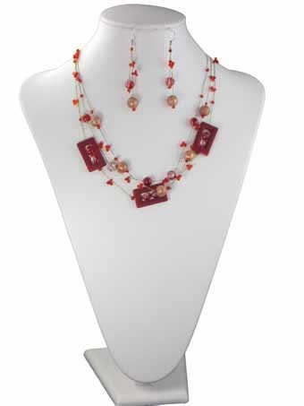 Three Row Geometry Design and Seed Bead Fashion Necklace on Thread and Drop Earrings Set - Red