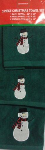 3 Piece Snowman Towel Set