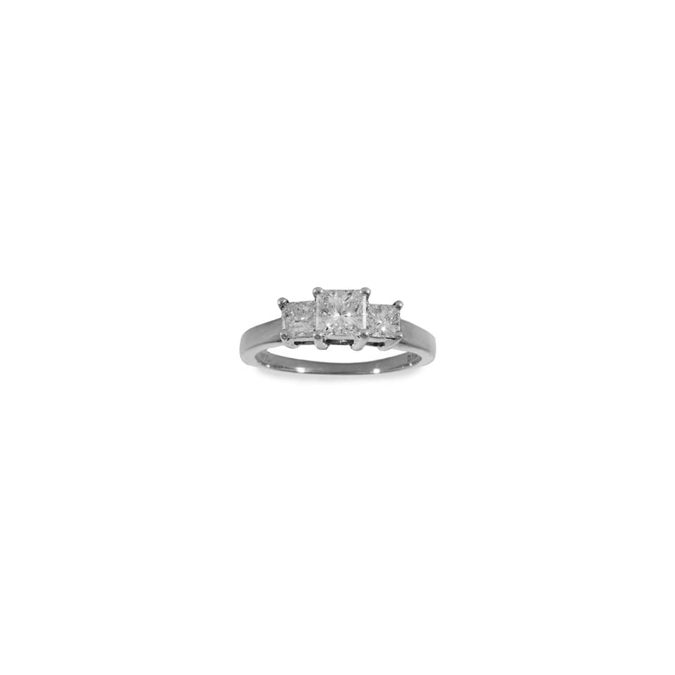 1 Carat Three Stone Princess Cut Diamond 14k White Gold Engagement Ring