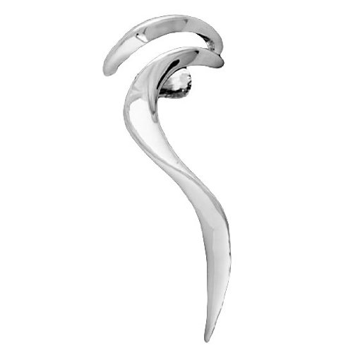 Sterling Silver Right Only Flame Wiggle Wave Ear Cuff