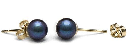 6.0-6.5 mm AA+ Black Akoya Pearl Stud Earrings