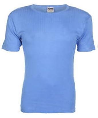 Mens THERMAL T SHIRT Vest SHORT SLEEVED Vest Winter Underwear MED Blue - 0.45 TOG