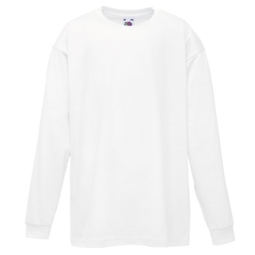 Fruit Of The Loom Childrens/Kids Unisex Valueweight Long Sleeve T-Shirt (9-11) (White)