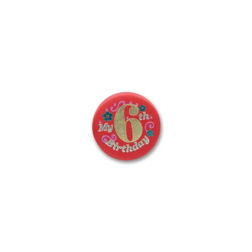 "My 6th Birthday Satin Button (Red) 2"" Party Accessory"