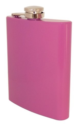 Stainless Steel Coloured Hip Flask - 7 oz (Cool Pink)
