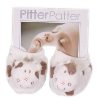 Moo'ing Plush Velour Cow booties by Pitter Patter