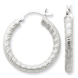 Genuine IceCarats Designer Jewelry Gift Sterling Silver Patterned Twist 25Mm Hoop Earrings