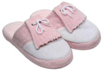 Women's Pink Golf Styled Bedroom Slippers Small NEW (Hoboken Halloween Store)