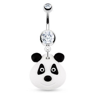 jewellery-sleuth-belly-bar-with-clear-cz-hardened-clay-dangling-panda-bear