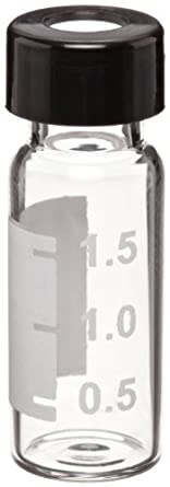 Wheaton W225151-0801 Borosilicate Glass 1.8mL Writing Patch Vial with Slit 0.005 Red PTFE/0.035 Silicone Lined 9mm ABC Screw Cap, Clear/Black (Case of 100)