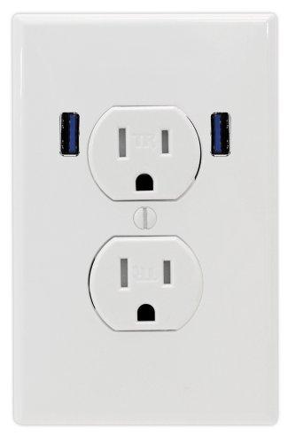 U-Socket Ace-8162 15-Amp Tamper Resistant Standard Duplex Dual Outlet Usb, White