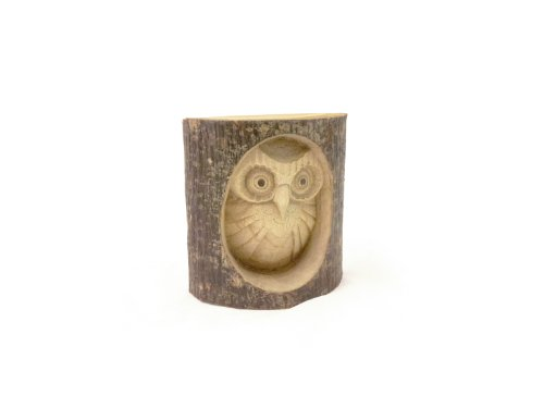 Timber-Treasures Hand Carved Owl in Log - Small