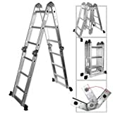 Light Weight Multi-Purpose 12 Aluminum Ladder - 300 LB Capacity