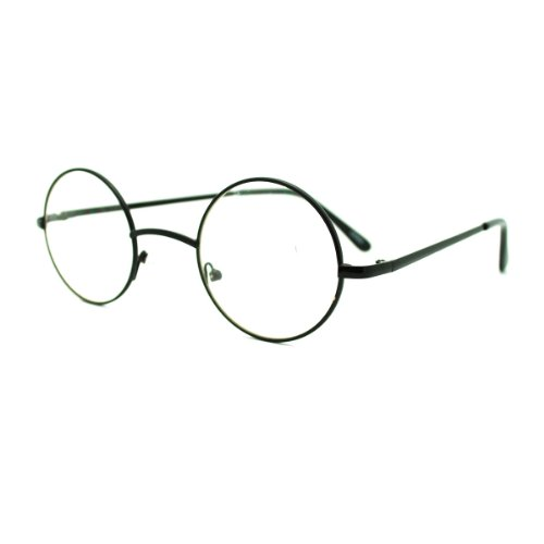 Black Round Circle Clear Lens Eyeglasses Small Size Thin ...