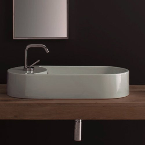 Scarabeo Scarabeo 8096-One Hole-637509879808 Designer and Vessel Porcelain Ceramic Sink, White