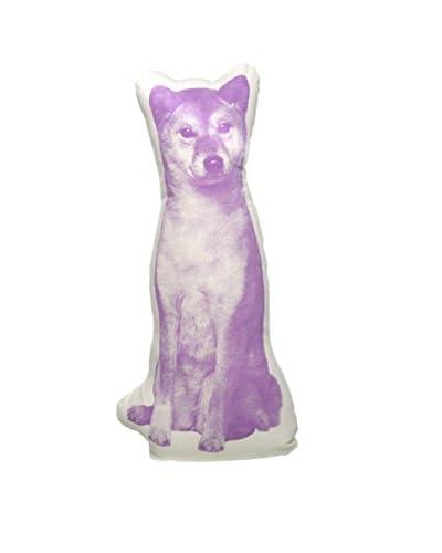 Areaware Sheba Inu Mini Fauna Pillow, Purple/Beige